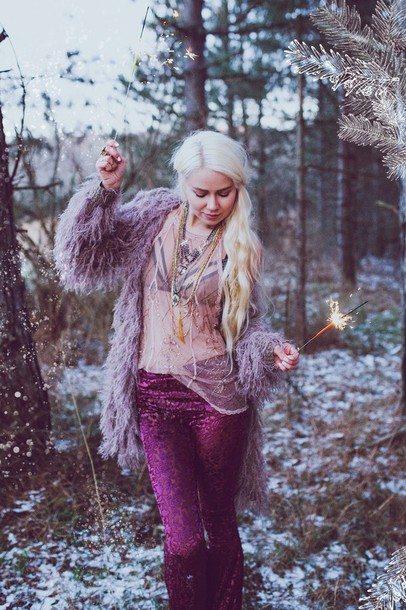 ready gypset go blogger gypsy fuzzy coat purple necklace hairstyles 70s style coat pants jewels underwear shirt jewelry layered boho boho jewelry bralette velvet grunge vintage