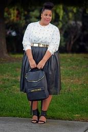 garner style,blogger,top,bag,belt,curvy,jumper,pleated skirt