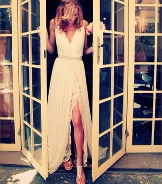 dress white dress fashion trendy flowy dress style slit dress sleeveless boho dress lace dress pretty