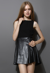 dress,open back,faux leather,skater dress,black