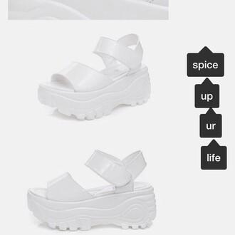 shoes buffalo platform shoes sandals 90s style white sick