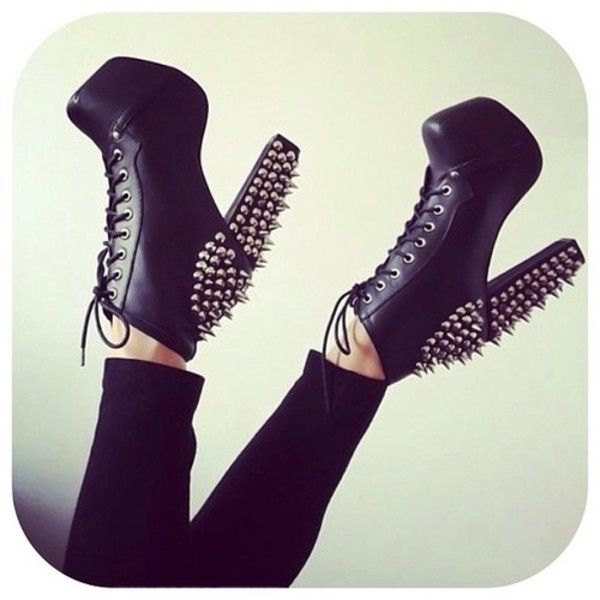 high heels studded shoes jeffrey campbell grunge wishlist spiked shoes shorts