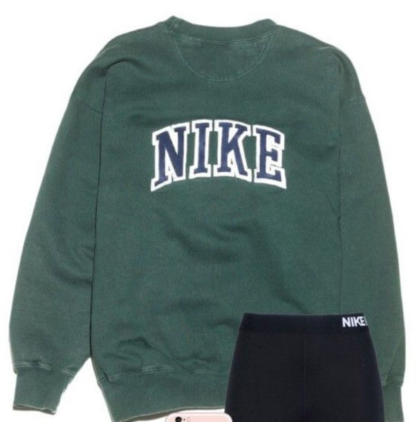 jacket green white nike retro blue sweater dark green blue words