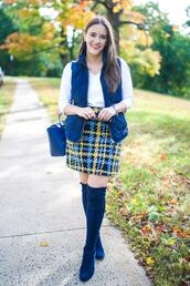covering bases,curvy,blogger,top,jacket,skirt,shoes,bag,sunglasses,vest,fall outfits,thigh high boots,blue boots,blue jacket