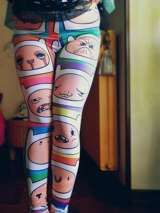 pants adventure time leggings tights jeans finn cartoon