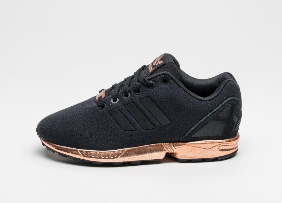 the latest 7056d f5ea5 sale adidas zx flux black and gold bottom 754b8 b78ac