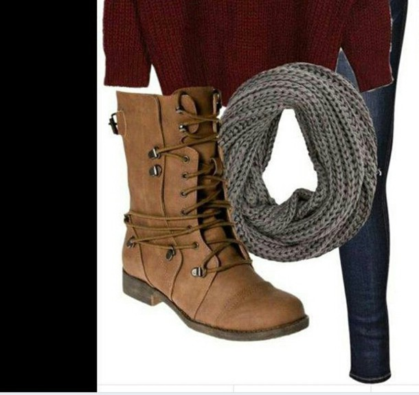 shoes boots brown fall autumn winter outfits snow