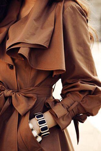 coat trench coat khaki tan brown camel ruffle tie belt chic coat fall coat