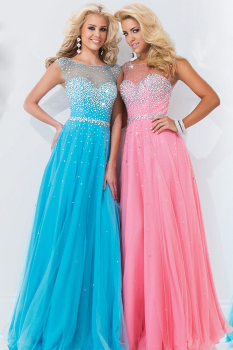 2014 Scoop Backless A Line Floor Length Chiffon Prom Dress Splendid - Shop Prom