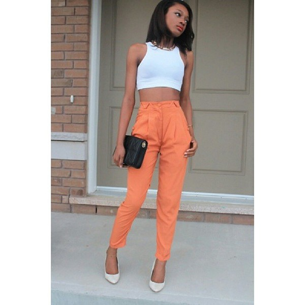 pants orange fashion