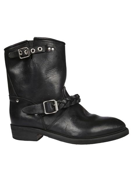 biker boots braided black shoes
