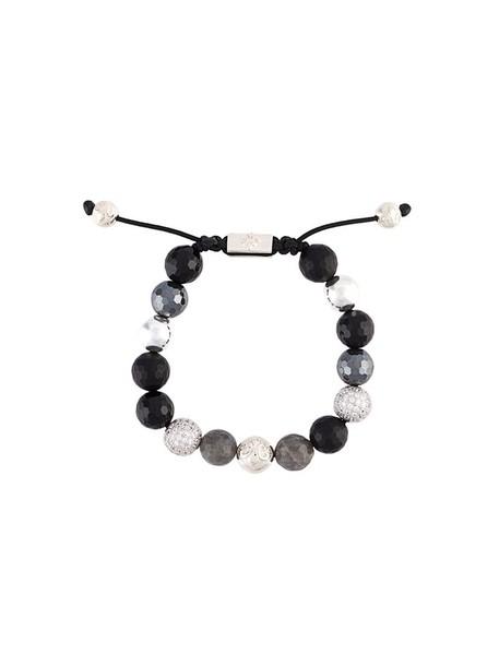 Nialaya Jewelry beaded bracelet women beaded silver black jewels
