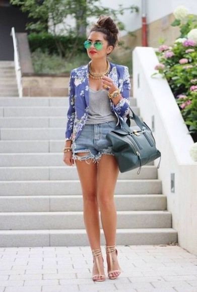 shorts jacket bag jewels denim shorts ripped shorts mirrored sunglasses sandals high heels floral