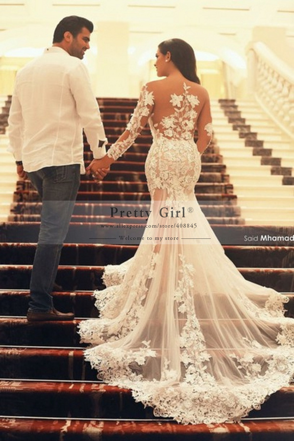 Aliexpress.com : buy vestidos de noiva sexy see through lace mermaid wedding dresses sweetheart appliques long sleeve sweep train wedding bridal gown from reliable gown clothes suppliers on pretty girl trade co., ltd