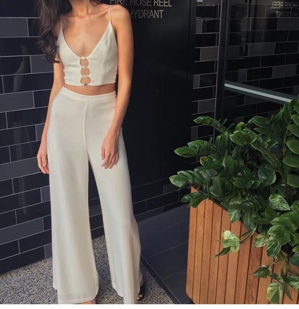 blouse cream jumpsuit