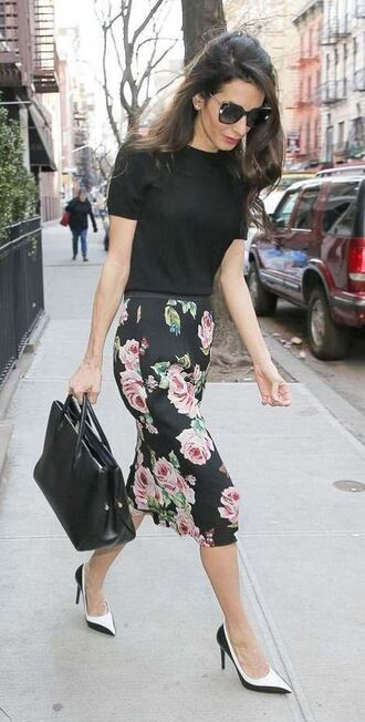 skirt floral amal clooney midi skirt streetstyle spring outfits pumps sunglasses