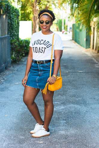 pinksole blogger t-shirt shoes bag sunglasses jewels skirt scarf gucci bag yellow bag denim skirt sneakers shirt plus size top curvy plus size