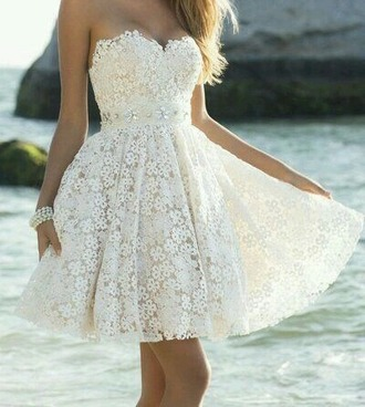 dress flowers lace cute white
