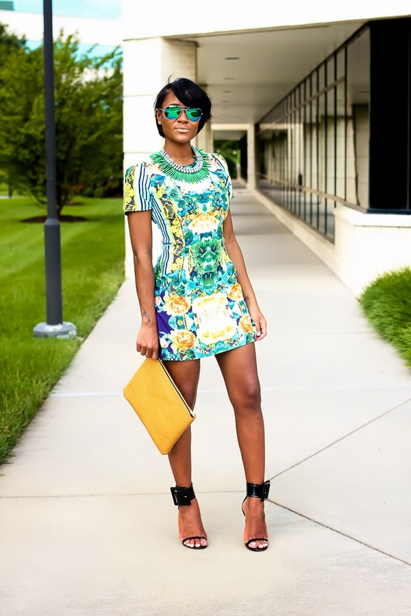the daileigh dress sunglasses bag jewels shoes colorful dress