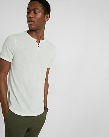 jacquard notch neck short sleeve henley