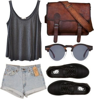 sunglasses glasses tank top leather bag jeans shorts high waisted shorts sneakers shorts shoes bag shirt
