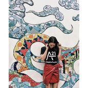skirt,tumblr,vinyl,wrap skirt,bow,mini skirt,red skirt,asymmetrical,asymmetrical skirt,t-shirt,black t-shirt,graphic tee,draped,draped skirt,vinyl skirt