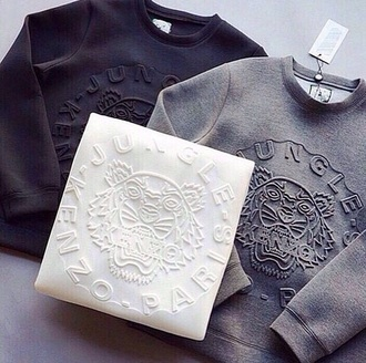 sweater kenzo sweater top grey sweater black sweater