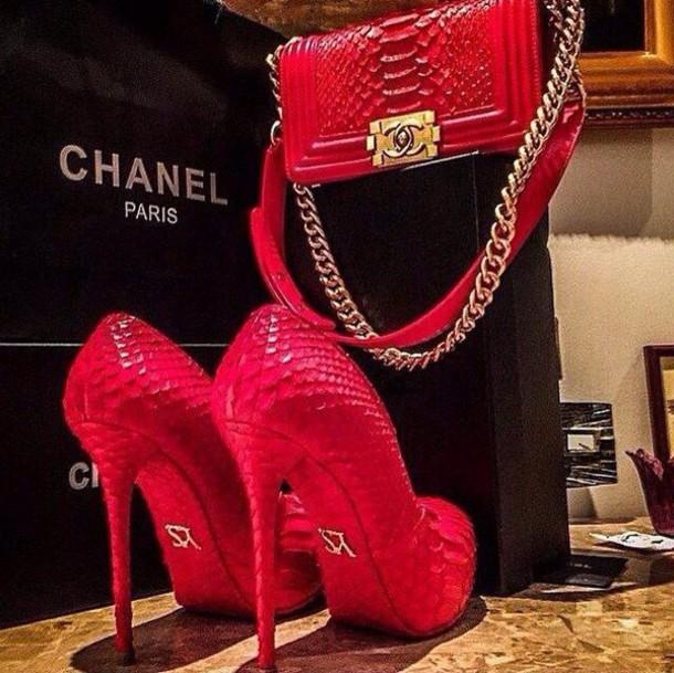 Shoes: pumps, red, ysl, chanel bag, bag - Wheretoget