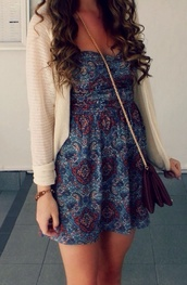 hippie,boho chic,blue and purple dress\,beautiful,india love,india westbrooks,dress,cardigan,pattern,heart,summer dress,patterned dress,dark pattern dress,maroon cross body purse,beige cardigan,maroon/burgundy,beige jacket,pretty,blue