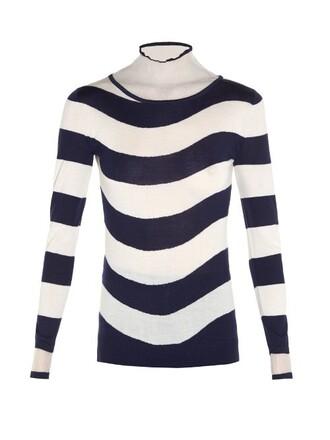 sweater striped sweater sheer blue