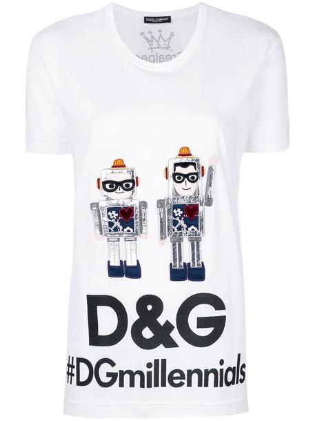 Dolce & Gabbana - robot designer's patch T-shirt - women - Cotton - 42, White, Cotton