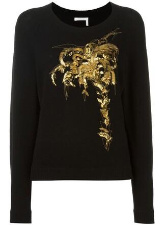 jumper embroidered women cotton black wool sweater