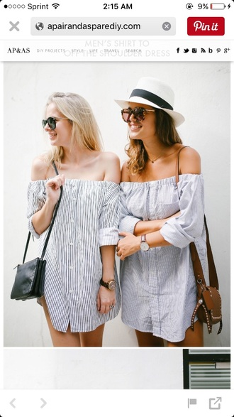 bag studs brown leather crossbody bag t-shirt dress off the shoulder button up white hat mini dress brown bag summer dress summer outfits
