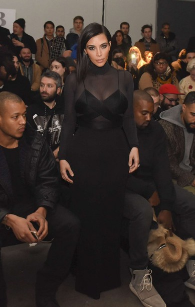 dress sheer kim kardashian all black everything fashion week 2015
