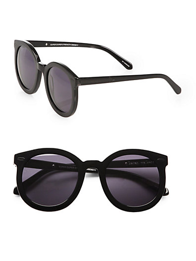 Karen Walker - Super Duper Strength Oversized Round Sunglasses/Black - Saks.com