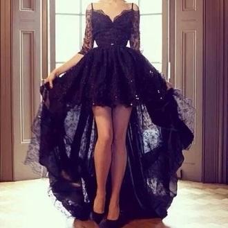 dress black lace dress high too low bottm long sleeves all lace black lace dress high low dress
