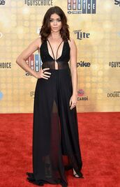 blouse,top,all black everything,sarah hyland,pants,red carpet,plunge neckline,see through,black top,black