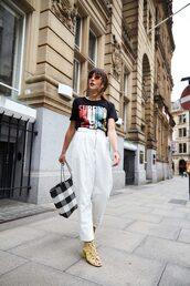 pants,white pants,wide-leg pants,bag,trendy