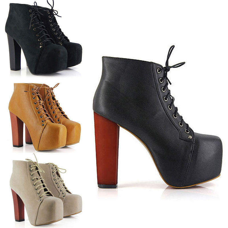 Ladies 4 Color Lita platforms high heels Lace Up Ankle shoes boots SIZE 3-8 | eBay