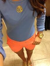 shorts,neon,neon orange,orange,buttons,high rise,high rise shorts