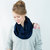 Navy Infinity Scarf Blue Jersey Dark Circle Cotton Womens Accessory Wide Women Circular