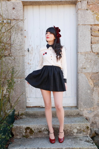 the cherry blossom girl shirt skirt shoes