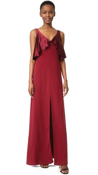 gown satin oxblood dress