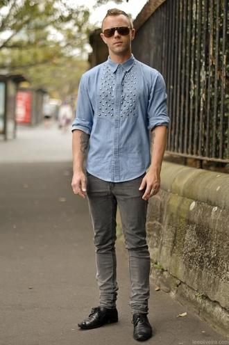 denim shorts rivets punk shirt
