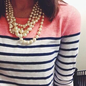 shirt colorblock pearl necklace peach navy white long sleeves stripes crewneck two tone striped sweater jcrew boatneck jcrew engineered striped boatneck top