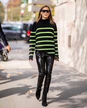 sweater,fine knit jumper,striped sweater,neon,leather pants,skinny pants,ankle boots,sunglasses,pants,black vinyl pants,black pants,boots,black boots