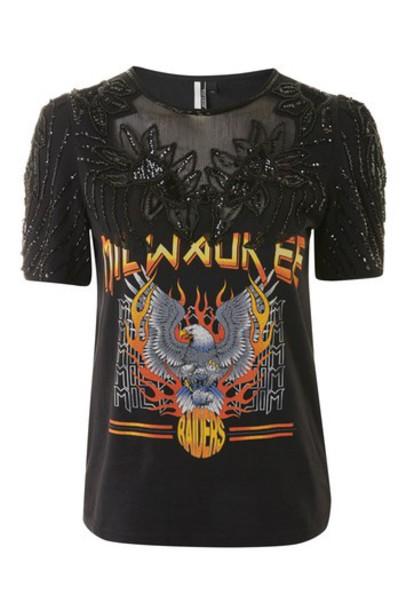 Topshop t-shirt shirt cape t-shirt rock embellished black top