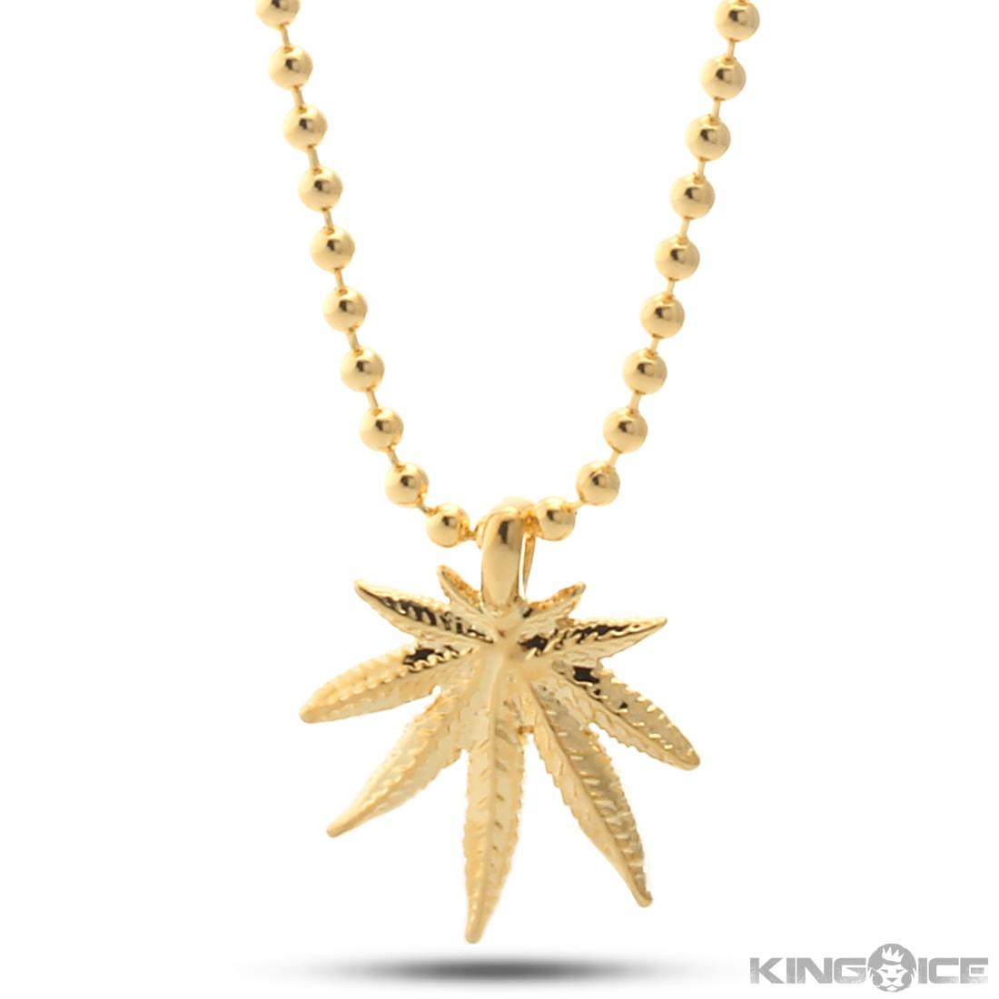 King Ice 14k Gold Marijuana Leaf Necklace