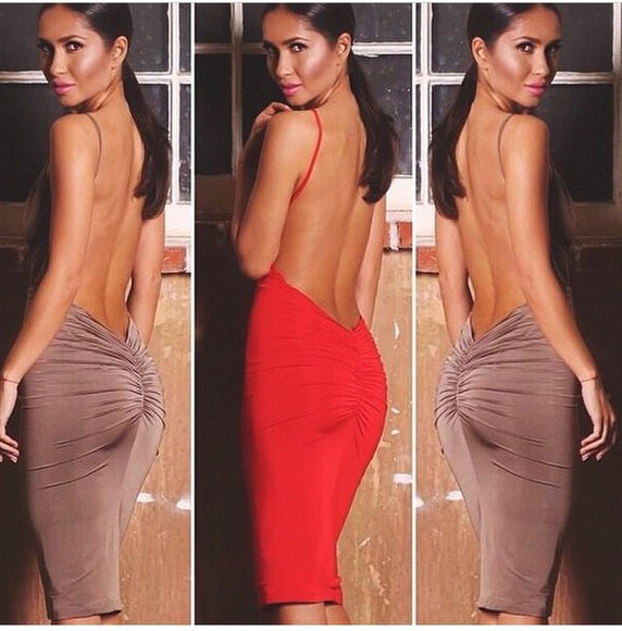 backless backless dress party dress brown dress sexy fitted dress bodycon dress red dress slim dress slim fit party clubwear clubbing outfits lipstick girly