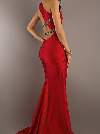 dress red dress one shoulder sparkle